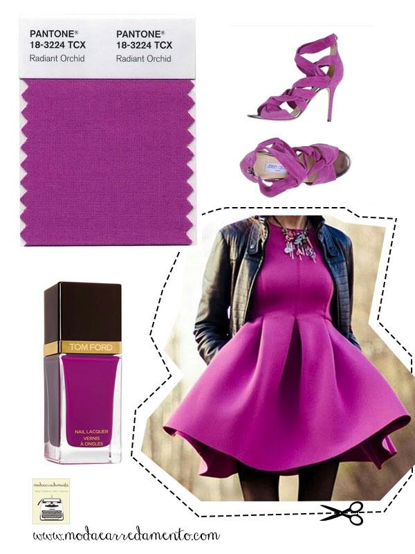 Radiant Orchid pantone 18-3224 tessuto e abbigliamento