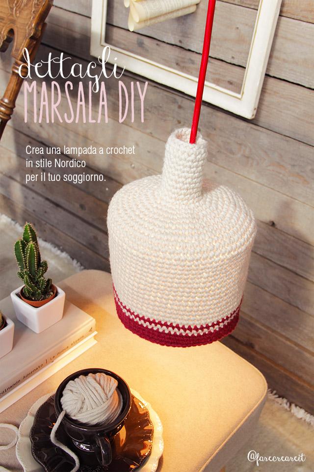 farecreare lampada a crochet in lana colre avorio-marsala 18-1438