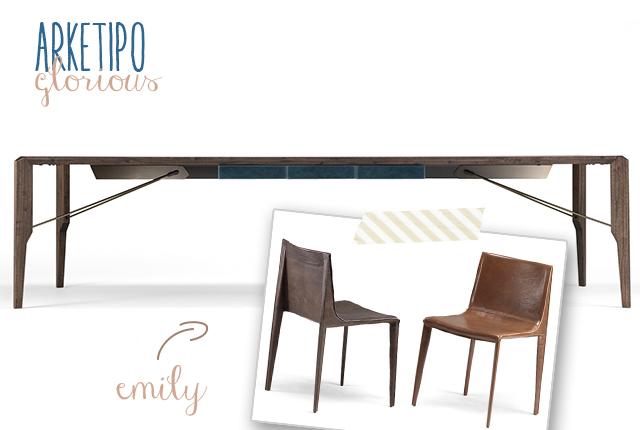 Arketipo foto del tavolo Glorius e della sedia Emily.