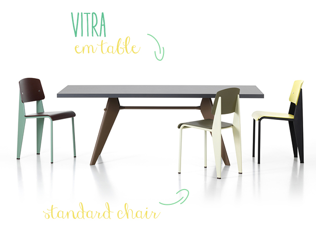 Vitra EM table - Standard chair.