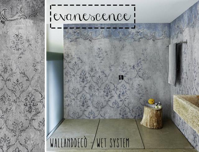 Wet system di WallandDecò: cosa fare per mettere la carta da parati in bagno, immagine esempio modello Evanescence.