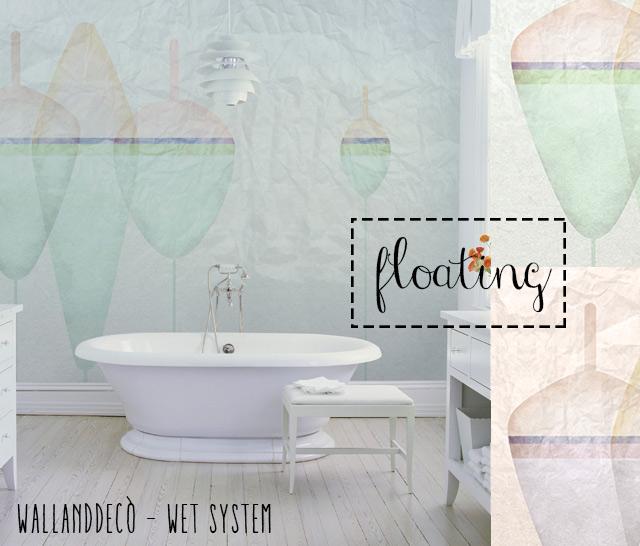 Wet system di WallandDecò per mettere la carta da parati in bagno - immagine del modello Floating.