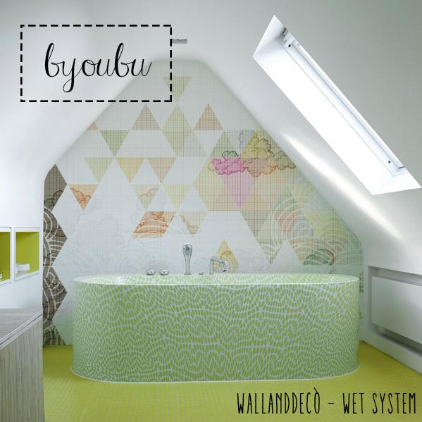 Wet system di WallandDecò per mettere la carta da parati in bagno - immagine del modello Byoubu.