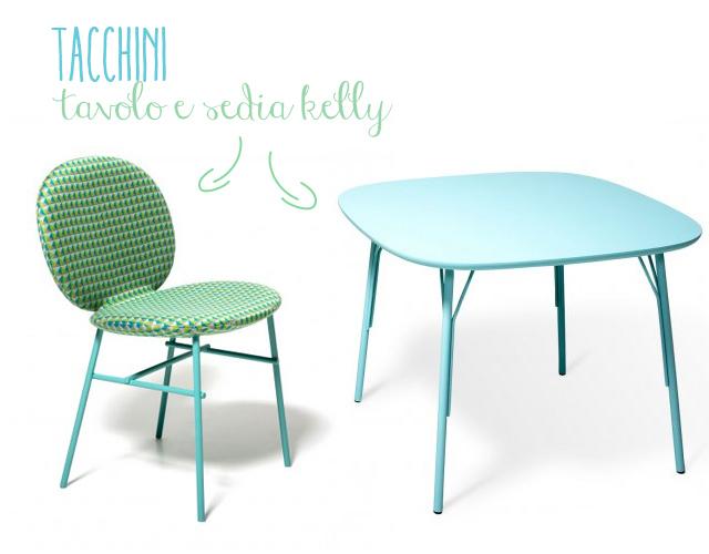 Tacchini immagine del tavolo e della sedia Kelly.