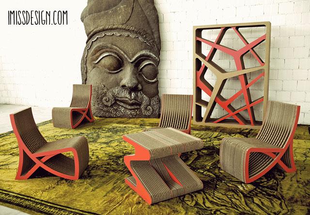 imissdesign.com poltrona, tavolino e libreria in cartone.