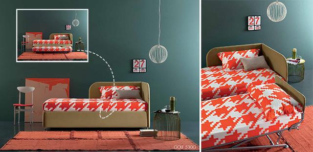 Golf letto singolo con contenitore per secondo letto.