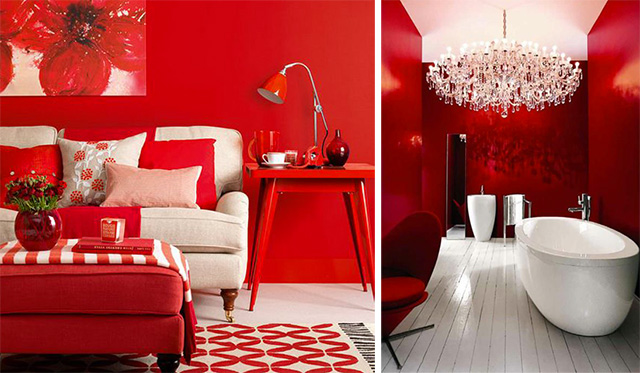 Le tendenze interiors design si tingono di rosso for Parete rossa soggiorno