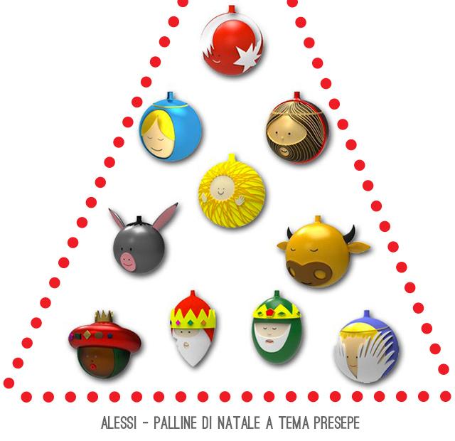 Alessi palle di Natale Sacra Famiglia con Re Magi.
