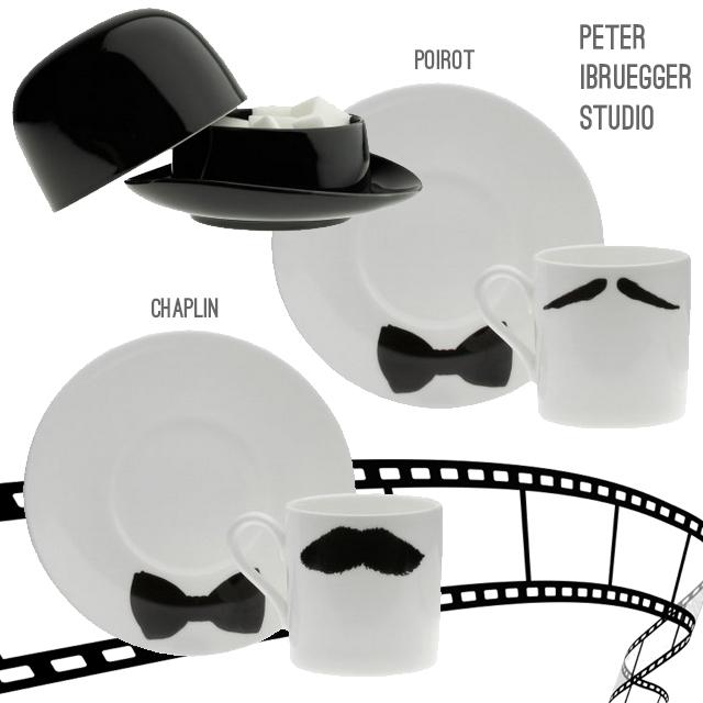 Peter Ibruegger Studio set da caffè Poirot e Chaplin.