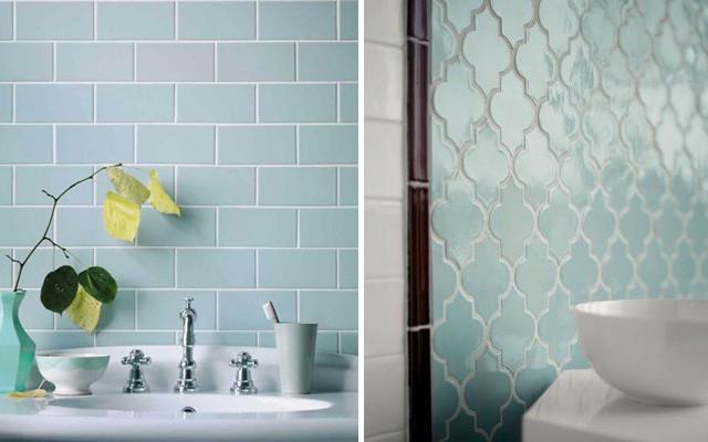 bagno piastrelle colore azzurro serenity
