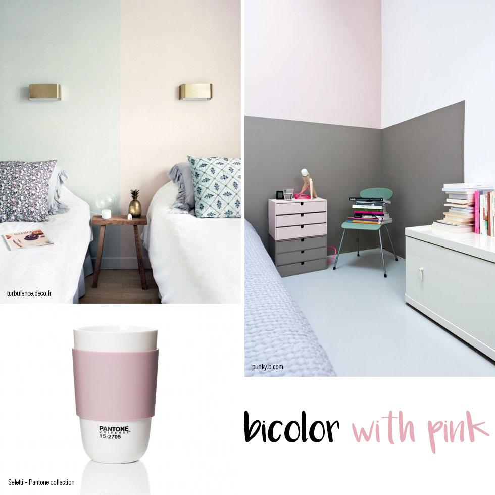 Parete bicolore con rosa e grigio.