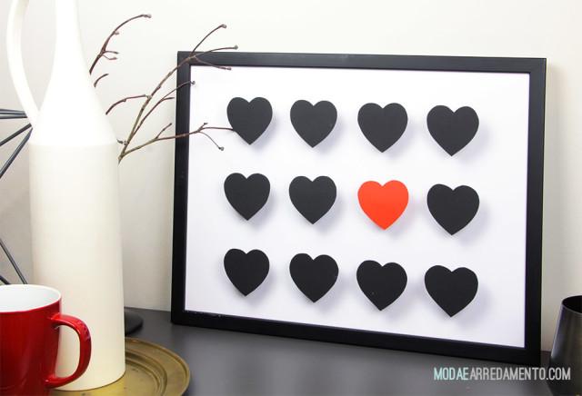 San Valentino tutorial di carta, cuori 3d rosso e neri.