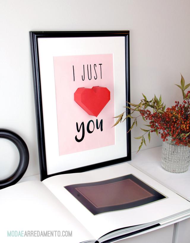 San Valentino tutorial di carta, cuore 3d rosso con scritta I love you.