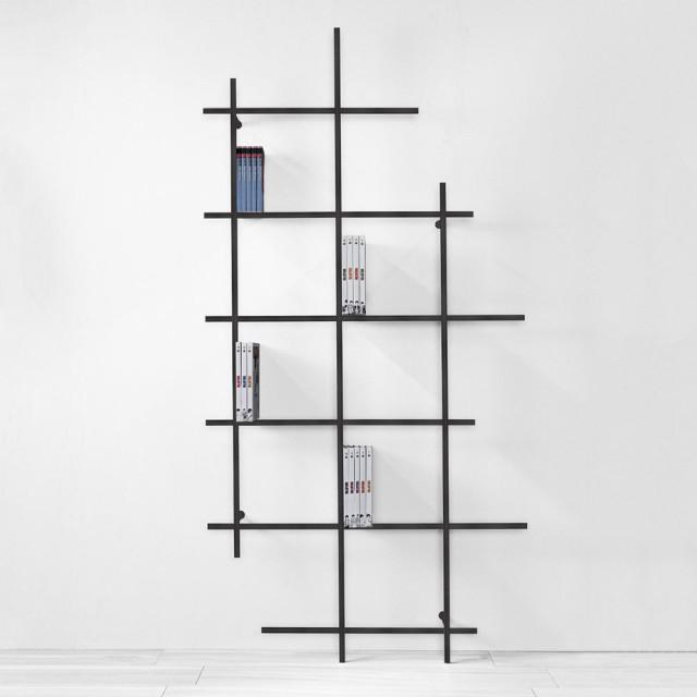 Libreria a muro libra acciaio 115x224 cm