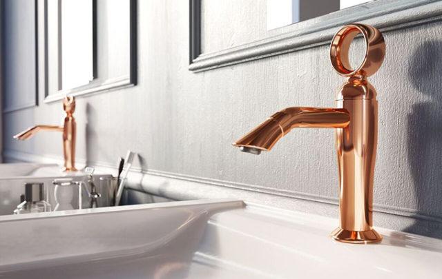 Opera rubinetto di Webert finitura oro rosa.