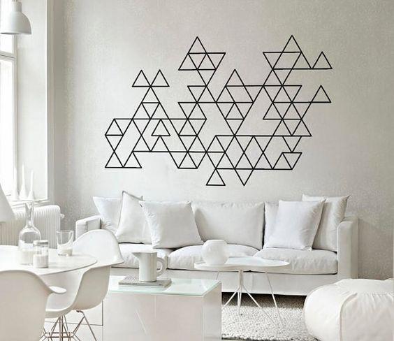 Come decorare le pareti con del semplice nastro nero - Tecnica per decorare pareti ...