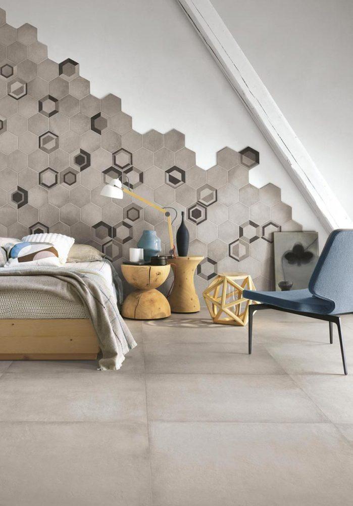 Ragno pavimento gres esagonale Rewind, usato come rivestimento e decorato.