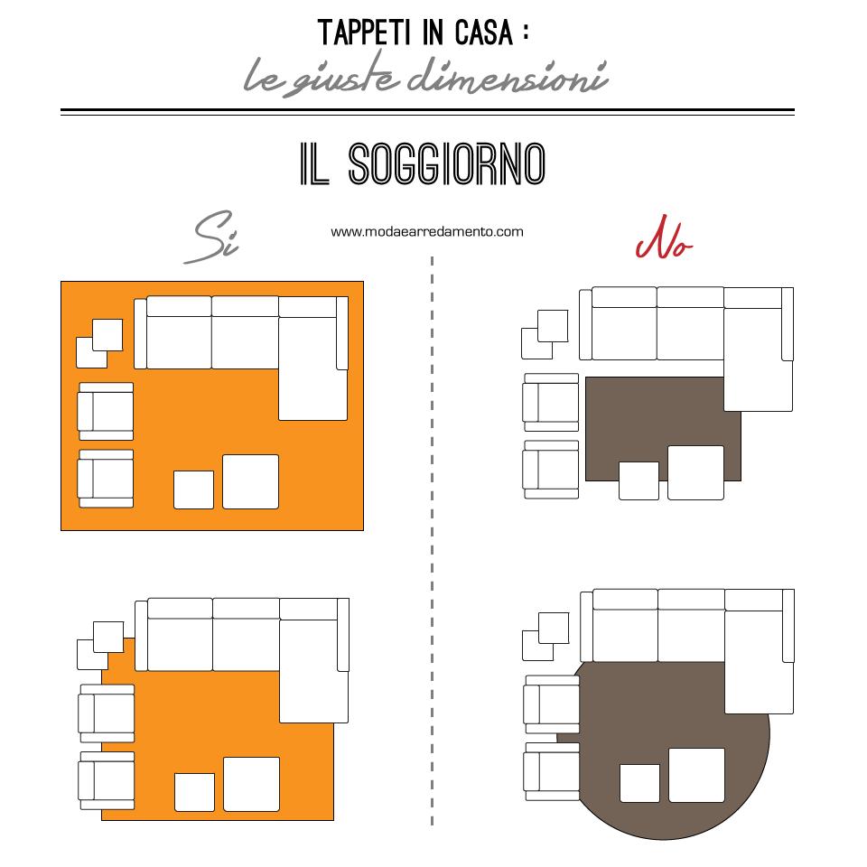 Scegliere la dimensione del tappeto salotto camera e for Tappeti per soggiorno online