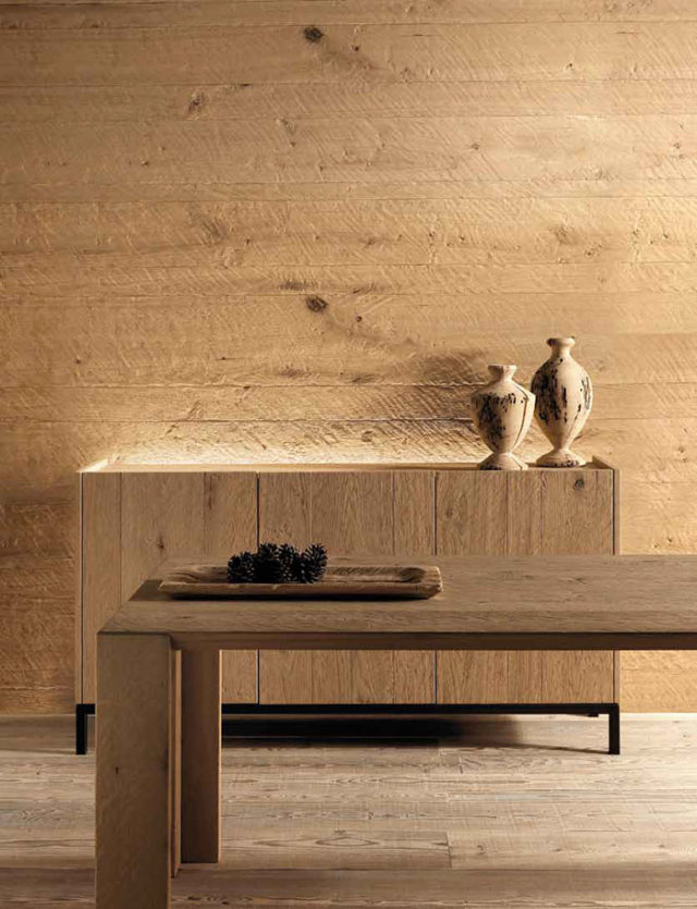Arredare in montagna con il legno vecchio ma in stile contemporaneo: madia Essence Wood.
