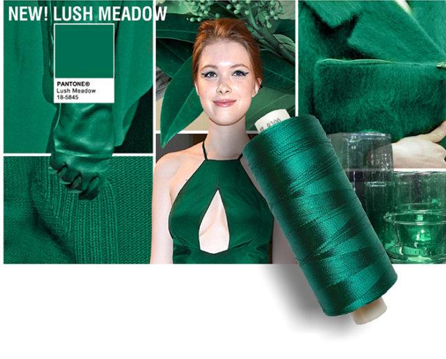 Pantone colore verde smeraldo Lush Meadow.