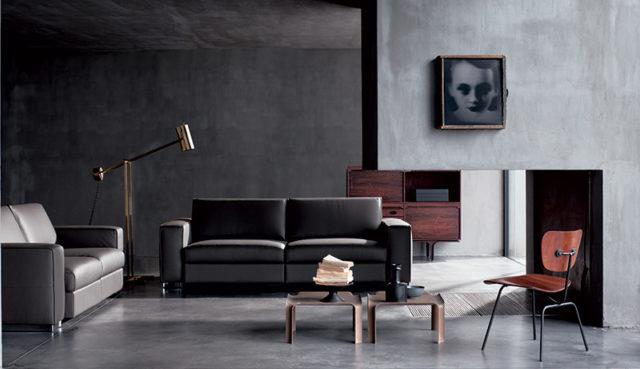 Doimo Salotti divani in pelle nero - stile neo dark nell'arredamento.