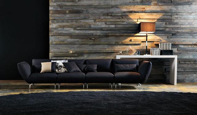 Neo dark tendenza arredo per il soggiorno - Doimo Salotti divani tessuto.