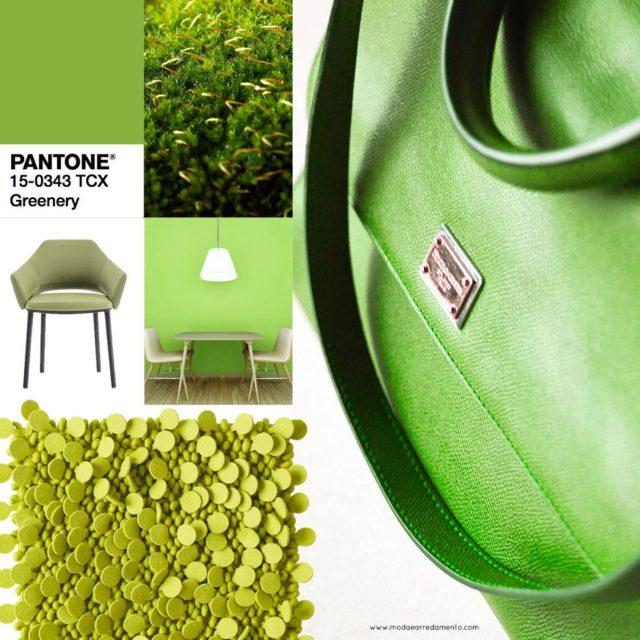 Pantone Greenery colore dell'anno 2017 - interpretazione in dalla moda all'arredamento.
