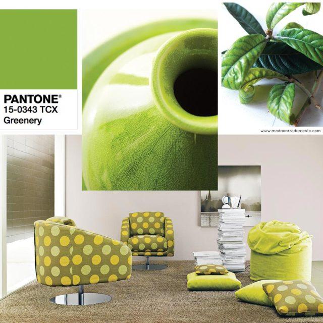 Pantone Greenery colore dell'anno 2017 - interpretazione in Salotto.