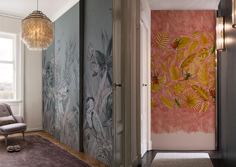 WallandDecò 2017 esempi di carte da parati con decorazioni a maxi fiori.