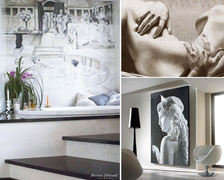 Esempi di bagno e quadri realizzati con la tecnica dell'affresco.