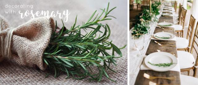 Decorare la tavola con il rosmarimo, idee semplici e delicate per l'outdoor party.