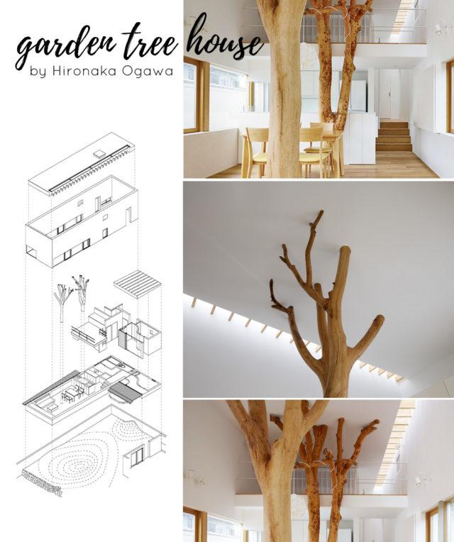 Garden tree house un progetto di Hironaka ogawa che presenta degli elementi di alberi in casa.