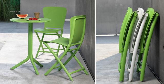 Zag tavolo e sedie di Nardi outdoor colore bianche e verde foglia.