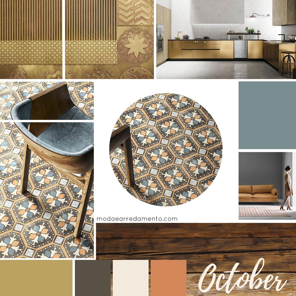 Moodboard d'autunno colore per l'arredamento.