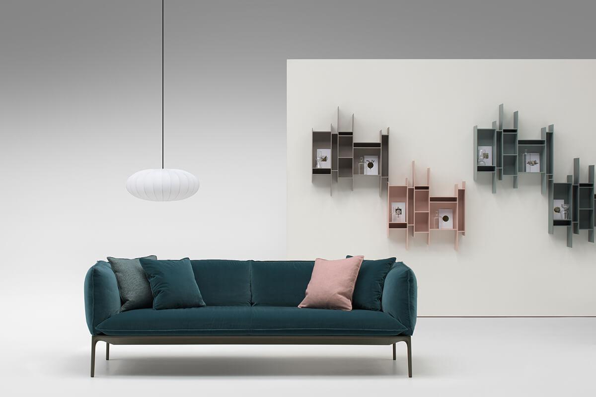 libreria a stile libero mdd Italia rosa e verde