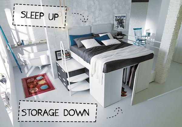 arredare monolocale design container DielleModus letto