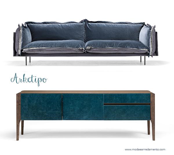 Tendenza colori casa - salotto con divano blu