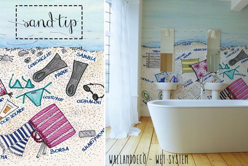Wet system di WallandDecò per mettere la carta da parati in bagno - immagine del modello Sand Tip.