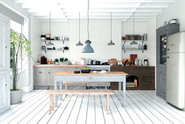 Vogue Bisello, piastrelle diamantate per la cucina in colore bianco.