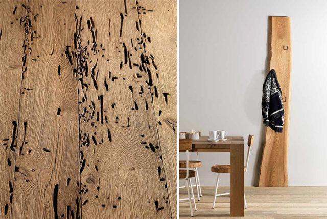 Arredare in montagna - appendiabiti in legno vecchio Essence Wood.