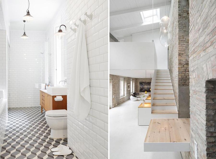 December feeling casa total white e legno grezzo - Piastrelle diamantate bagno ...