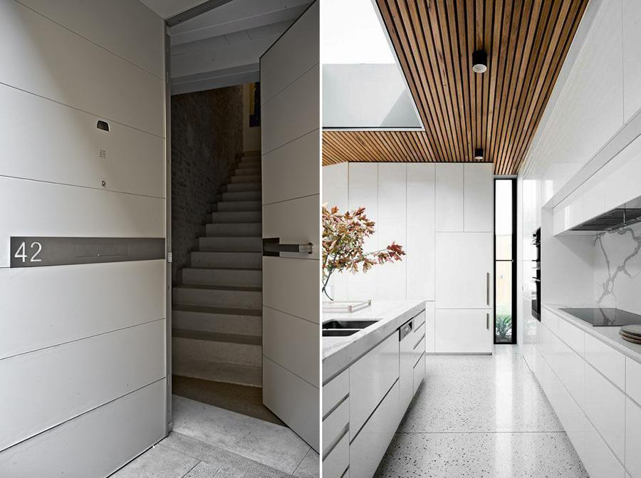 Cucina e ingresso total white.