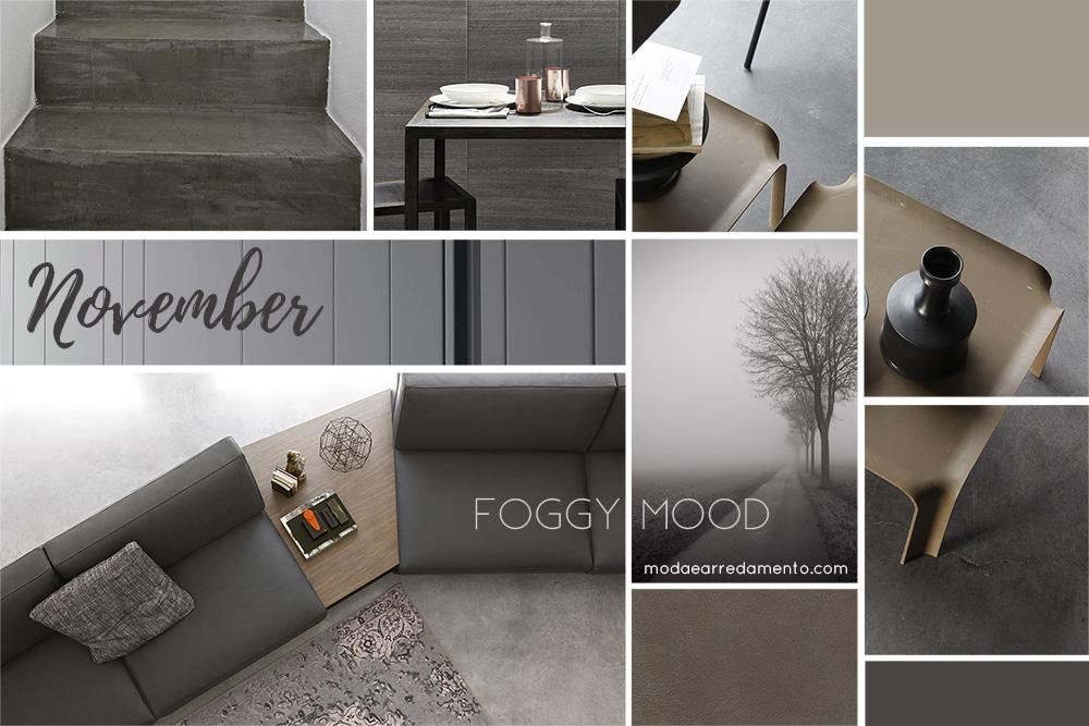 Moodboard di Novembre 2017 - casa - dedicata ai colori della nebbia (grigio).