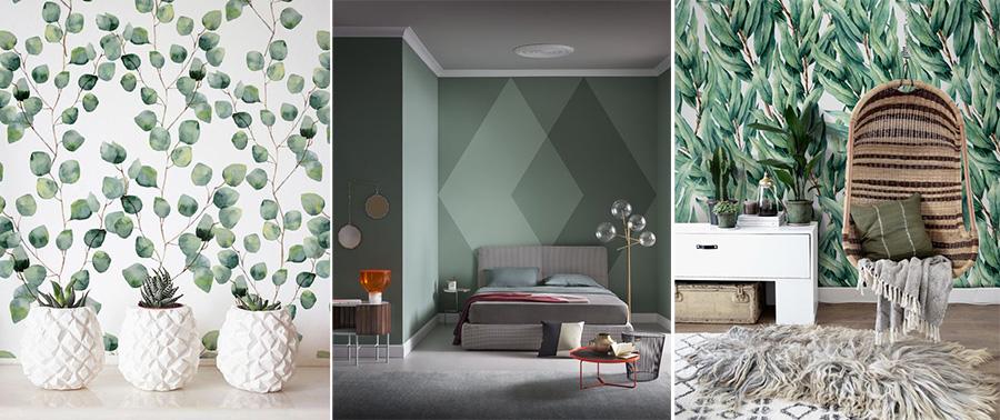Carte da parati e pitture murali ispirate al verde salvia ed eucalipto.