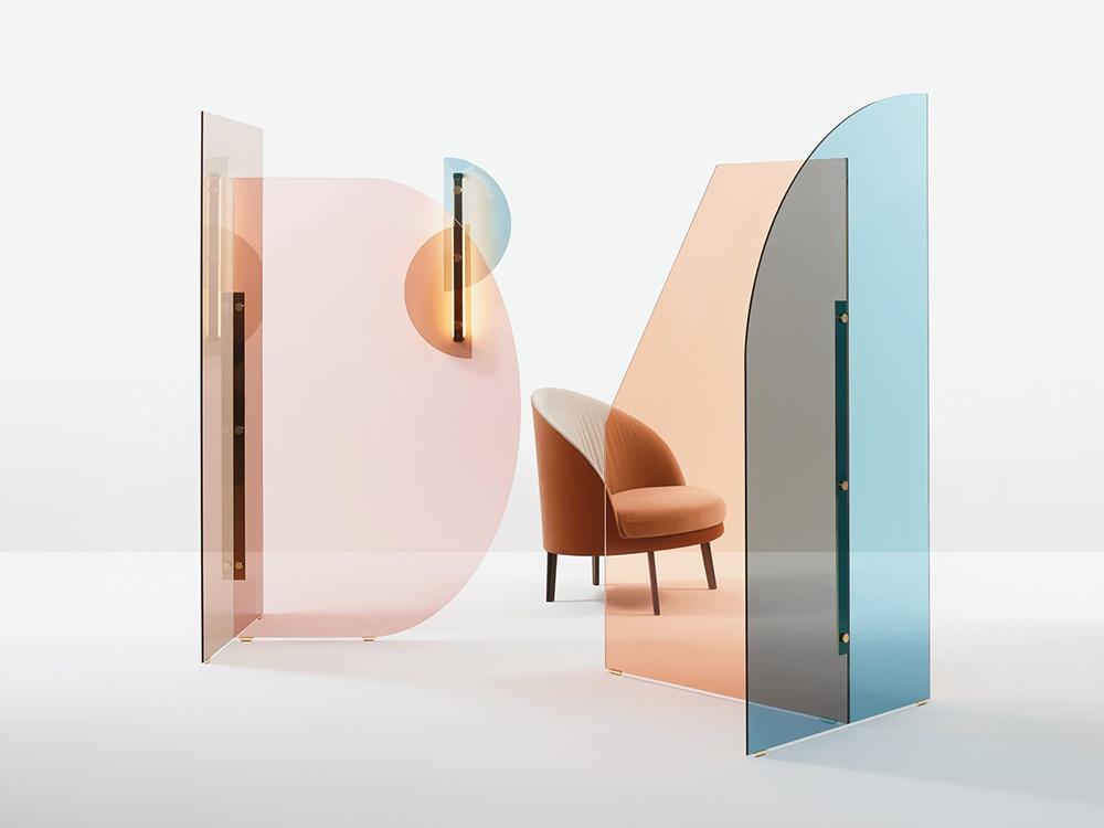 Arflex divisorio per la casa l'ufficio in vetro colorato Bernhardt.