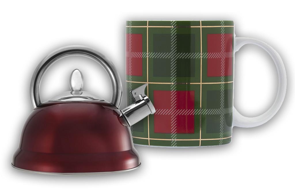 Bialetti bollitore a fischio rosso con tazza mug coordinata colore tartan.