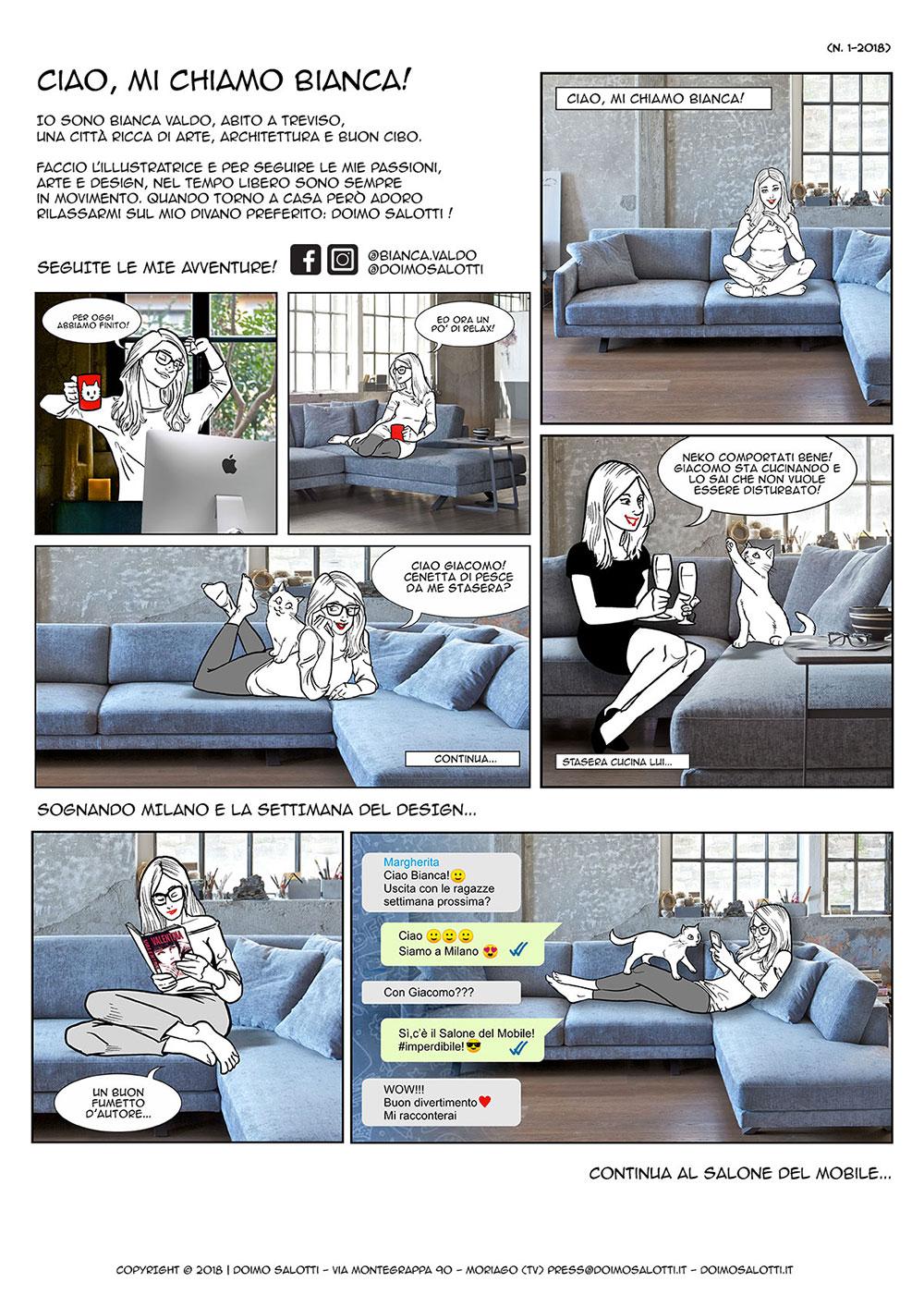 Bianca Valdo fumetto italiano tavola numero 1-2018