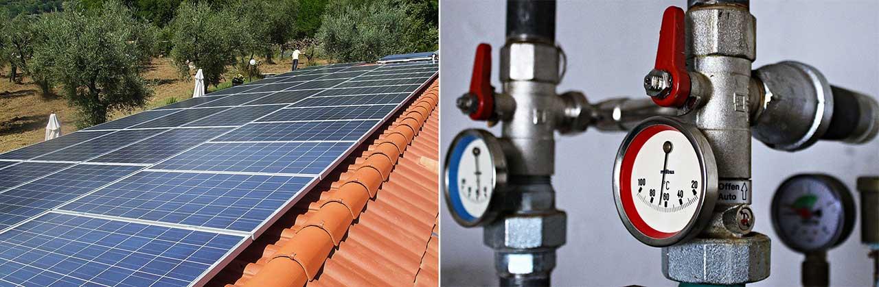 tetto con impianto fotovoltaico e caldaia