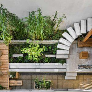 terrazzo esterno visto alto in legno
