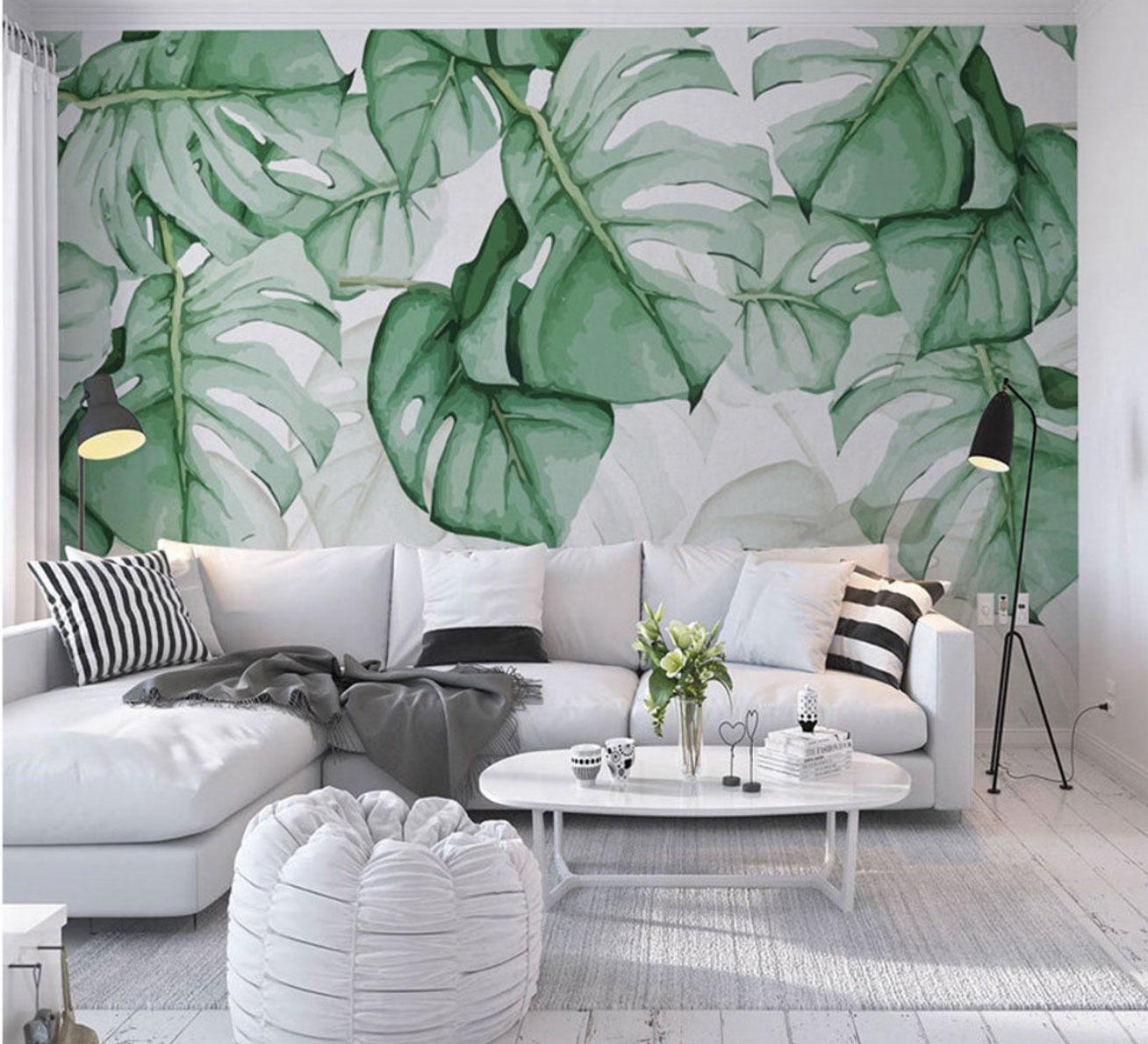 look tropicale in soggiorno - carta da parati con foglie verdi
